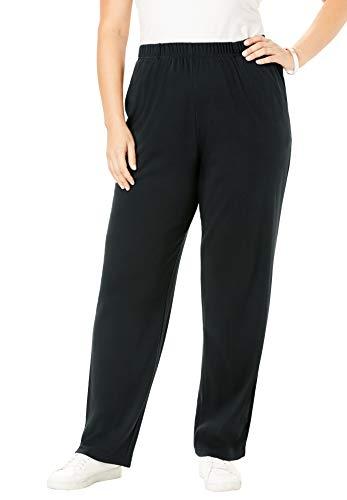 (Roamans Women's Plus Size Soft Knit Straight-Leg Pants - Black, L)