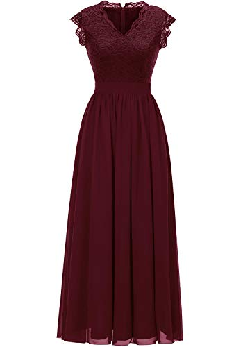 Dressystar 0050 V Neck Sleeveless Lace Bridesmaid Dress Wedding Party Gown S Burgundy
