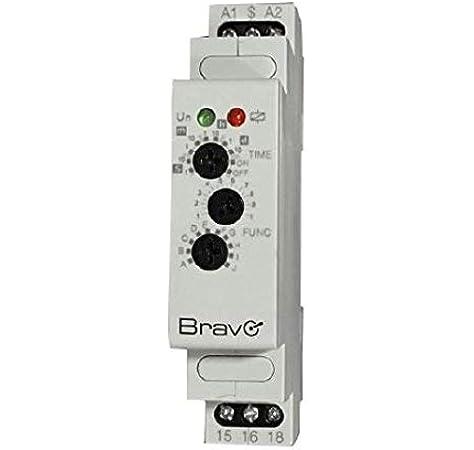 temporizador multifunción para cuadros eléctricos DIN 12 – 240 V Bravo 93003221: Amazon.es: Bricolaje y herramientas