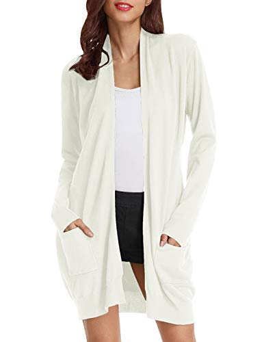 Basic Open Front Knit Cardigan Sweater Top with Pockets (L,Ivory) ()
