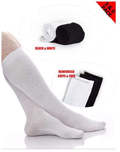Mens Classic Cotton Over-the-Calf Socks - Boot Socks - Soccer Socks Men - Black and White - 3 Pack and 6 Pack - by Topfit (white, 6pk, 13-15)
