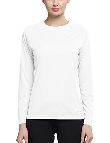 MOCOLY Womens Basic Skins Sun Protective UPF 50+ UV Outdoor Fitness Running Performance Long Sleeve T-Shirt Top White L