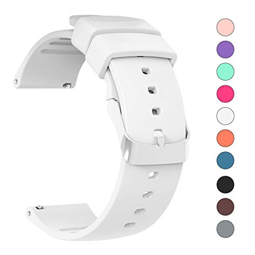 IELIELE Compatible 20mm Watch Band, Waterproof Replacement Wristbands Straps for Samsung Gear S2 Classic/Withings (Nokia) Steel HR 40mm/ Galaxy Watch 42mm (White, 20mm)