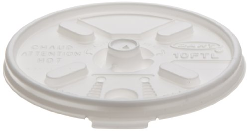 Dart 10FTL Lift N' Lock Plastic Hot Cup Lids, Fits 10oz Cups, White (Case of 1000)