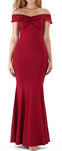 Short Sleeve Strapless Off The Shoulder Twisted Front Long Maxi Bodycon Fishtail Mermaid Dress Burgundy S