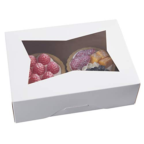 8inch White Cookie Boxes with Window,Auto-Popup Rectangular Bakery Box for Muffins and Pastry,Chocolate Covered Strawberry Cardboard Clear Lid Treat Packaging 8x5.75x2.5,Pack of 15