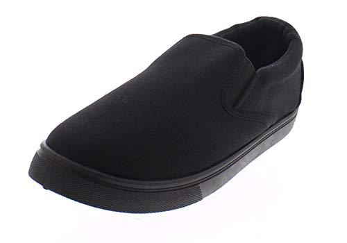 Doug Mens Slip On Shoes,Casual Skate Canvas Sneakers,Slipon Men's Boat Deck Shoe Black/Black 8W US