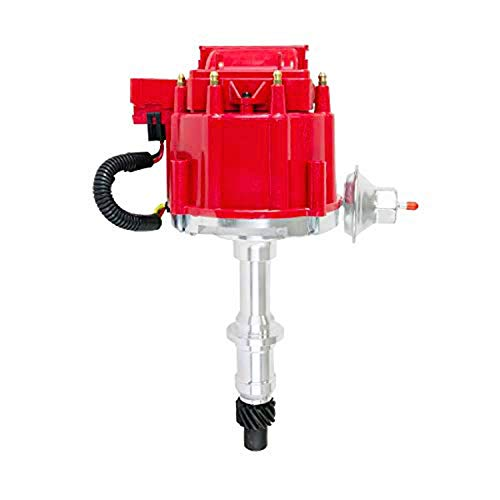 A-Team Performance HEI Complete Distributor 65K Coil Compatible with Small Block SB and Big Block BB Pontiac 301 326 350 389 400 421 428 455 One Wire Installation Red Cap