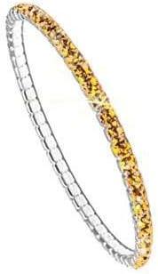 Swarovski Pulsera para Mujeres - Brazalete elástico Elements, Plateado, sin niquel, l 17.78cm, PP24; Topaz (203)