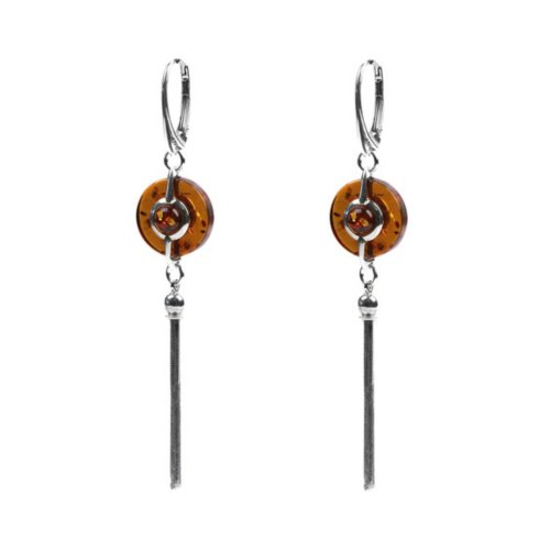 Honey Amber Sterling Silver New Age Earrings