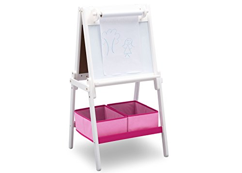 White Kids Furnitures - Delta Children MySize Double-Sided Storage Easel, Bianca White