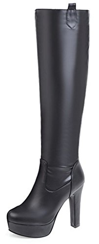 Chunky Boots Aisun Pull High Heel High Trendy Women's Black Platform Toe Knee on Pointed paqan7Ar