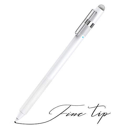 MEKO 1.6mm Fine Tip Active Digital Stylus Pen with Universal Fiber Tip 2-in-1 for Drawing and Handwriting Compatible with Apple Pen iPad iPhone and Andriod Touchscreen Cellphones, Tablets-White ()