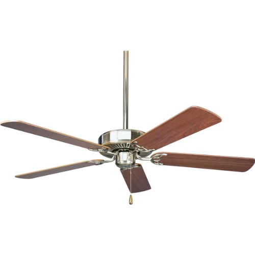 Progress Lighting P2501-09 52-Inch Fan with 5 Blades and 3-Speed Reversible Motor with Reversible Cherry or Natural Cherry Blades, Brushed Nickel
