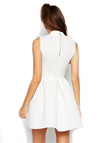 SheIn Women's Sleeveless Flare White Plain Dress