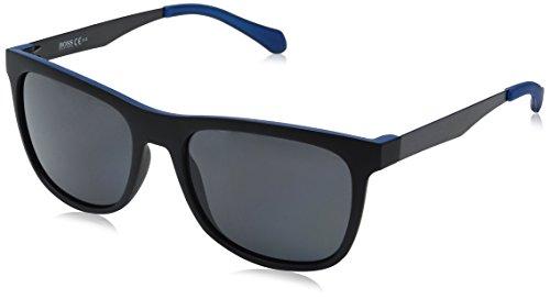 BOSS by Hugo Boss Men's B0868s Square Sunglasses, Matte Black Blue/Gray Polarized, 55 - Hugo Sunglasses Boss