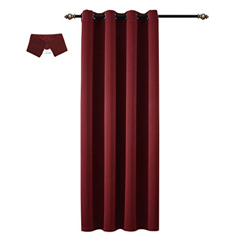 Yakamok Blackout Solid Curtain Window Treatment - (Wine Red Color) Thermal Insulated Drape Shade with Tie Back for Sliding Glass Door, W52 x L96 Inch, 8 Grommets/Rings Top, 1 Panel (Door Back Panel Tie)