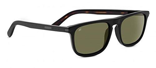 Serengeti 8154 Leonardo Sunglasses, Shiny Black/Dark Tortoise Frame, Polarized 555nm - Leonardo Sunglasses
