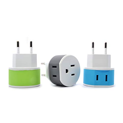 OREI Most of Europe Travel Plug Adapter - 2 USA Inputs - 3 Pack - Type C (US-9C) - Does Not Convert ()