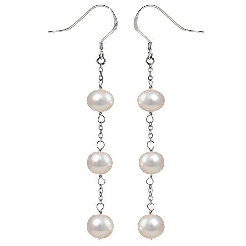 JFUME Freshwater Pearl Earrings for Women Sterling Silver Hook Hypoallergenic Dangle Earrings White