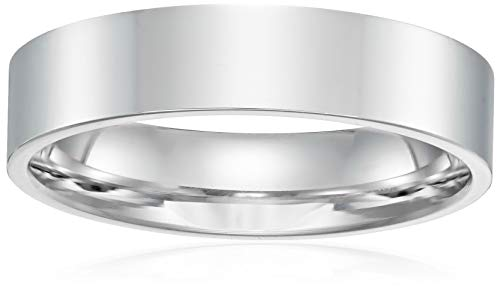 Decadence Unisex 14K White Gold 5mm Polished Flat Comfort Feel Plain Wedding Band, 10