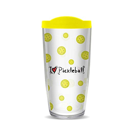 Pickleball Marketplace - 16 oz Tumbler - BPA Free - Yellow Slider Lid & Thermal Insulated - I