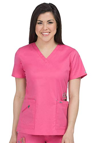 - Med Couture Women's Mobility 8553 V-Neck Top- Bubblegum/Spearmint- Small