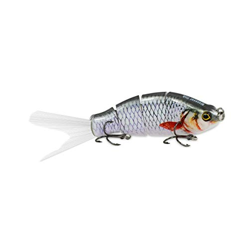 (Discover Fish Fishing Lures with Fibre Rooster Fishtail 4 Segment Jointed Pro Lifelike Sinking Plugs Hard Swimbait Baits for Freshwater Saltwater Trolling Bass Trout Musky Sea Bass Pike 0.6oz 4.5inch)