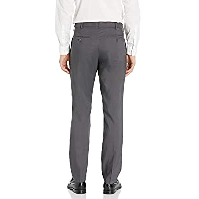 AXIST Men's Flat Front Straight Fit Textured Stretch Dress Pant at  Men's Clothing store