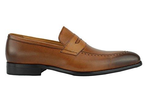 Herren Echt Leder 2Ton brüniert Tan Braun Penny Loafer Slip On Smart Schuhe