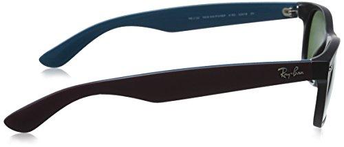 c6faa130f24985 ... Ray-Ban - Lunettes de Soleil RB2132 New Wayfarer Wayfarer 52 mm Noir Et  Bordeaux ...