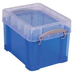 Really Useful Box(R) Plastic Storage Box, 3 liters, 6 1/2in.H x 7 1/4in.W, 9 1/2in. x 7 1/4in. x 6 1/2in, Blue