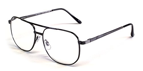 Calabria 1106 Metal Aviator Reading Glasses in Gun Metal ; - Glasses Wide Reading