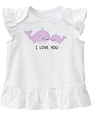 Baby Toddler Girls' Rouched Whale I Love You Top