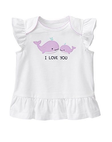 Gymboree Baby Toddler Girls Rouched Whale I Love You Top  Multi  12 18 Months