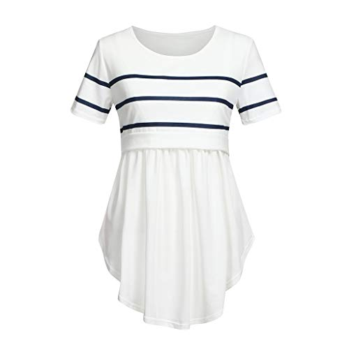 Toponly Nursing T Shirt for Women Mom Pregnant Baby Maternity Short Sleeve Striped Blouse Clothes White ()