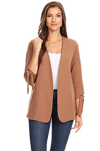 Solid Casual Collarless Loose Fit Open Front Cardigan/Made in USA Mocha L by HEO CLOTHING