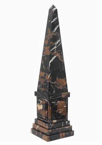 Khan Imports Decorative Black and Brown Marble Stone Obelisk Sculpture Statue - Large, 20 Inch Tall ()