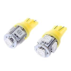 GDW T10 1W luz amarilla 5x5050SMD Bombilla LED para coches de licencia Placa / Turn Lámparas de señal (DC 12V, 1 par)