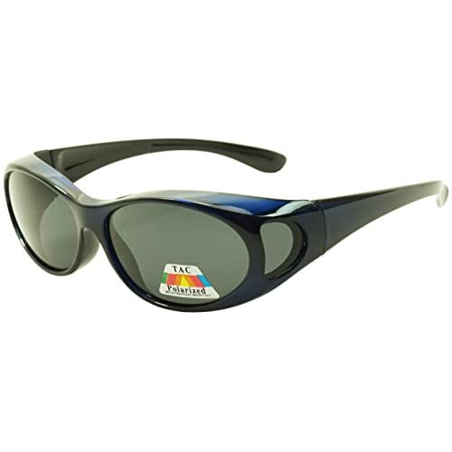 d1efb9b6b51 Navy Blue Wear Over Sunglasses with Dark Black Polarized Lenses Wrap Fit  Over Frame - Unisex