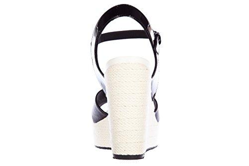 Hogan zeppe sandali donna in pelle h263 vernice nero
