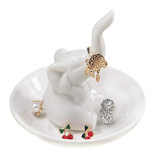 HOOKDOR Lucky White Elephant Ring Holder, Wedding Engagement Jewelry Dish, Lady Girl Ceramic Earring Necklace Tray Gifts