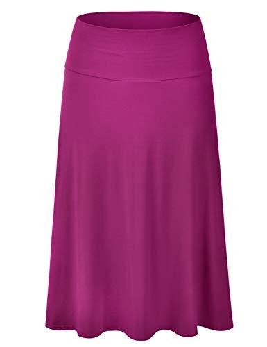 EIMIN Women's Solid Flared Lightweight Elastic Waist Classic Midi Skirt Magenta S