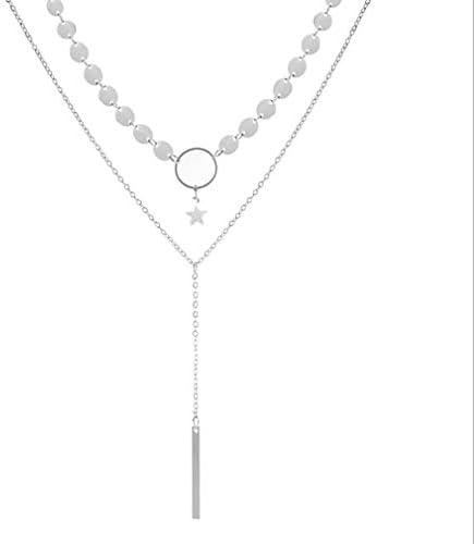 LeTianp ネックレス 鎖骨チェーン スパンコール 星 ペンダント ロング タッセル ダブルレイヤー 贈り物 銀