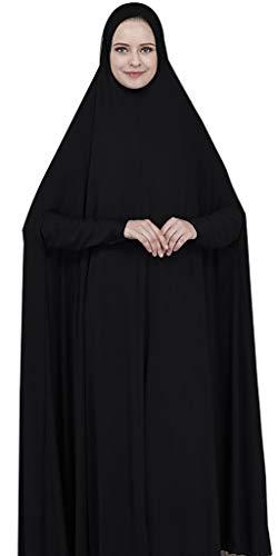 Ababalaya Women's Muslim One-piece Large Overhead Prayer Dress Hijab Abaya for Hajj Umrah,Black,Tag M Length 57 inch