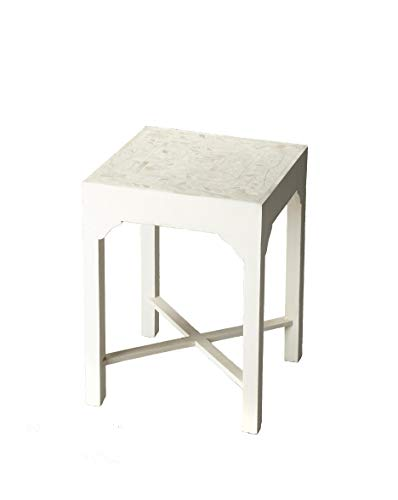 Butler Heritage White Square Select Wood Solids, MDF, Bone Vanessa Bone Inlay BUNCHING Table ()