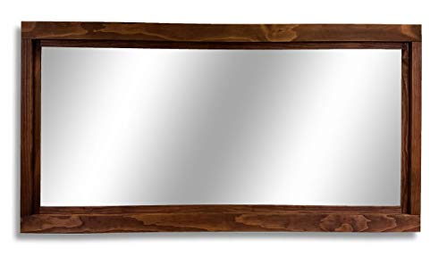Chestnut Mahogany Vanity - Farmhouse Large Framed Mirror Available in 5 Sizes and 20 Stain Colors: Shown in Special Walnut - Decor Entryway - Mirror for Desk - Mirror for Wall - Mirror Over Double Sink Vanity