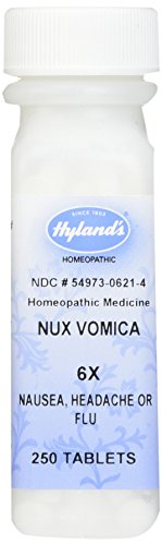 Hyland's Nux Vomica 6X Tablets, Natural Homeopathic Relief of Nausea, Headache or Flu, 250 Count