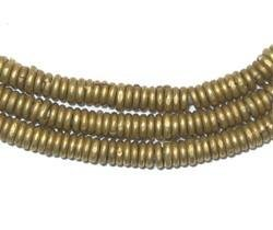 Kenya Brass Heishi Beads - Full Strand of 3mm African Metal Disk Spacers - The Bead Chest