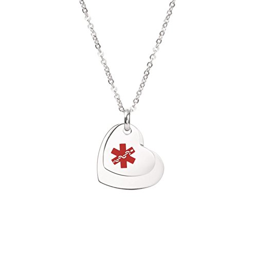 Free Engraving Heart Charm Medical ID Alert Necklaces for Women & Girl (Medical Heart Id Pendant)